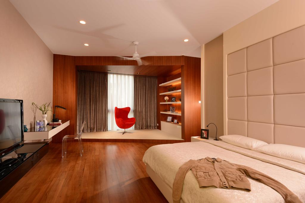 Modern, Landed, Bedroom, Wilkinson Road, Interior Designer, The Orange Cube, Master Bedroom, Ceiling Fan, Downlight, Curtain, Dressing Table, Quilt Leather Backing, Bed Backing, Parquet, Electronics, Monitor, Screen, Tv, Television, Indoors, Room, Interior Design