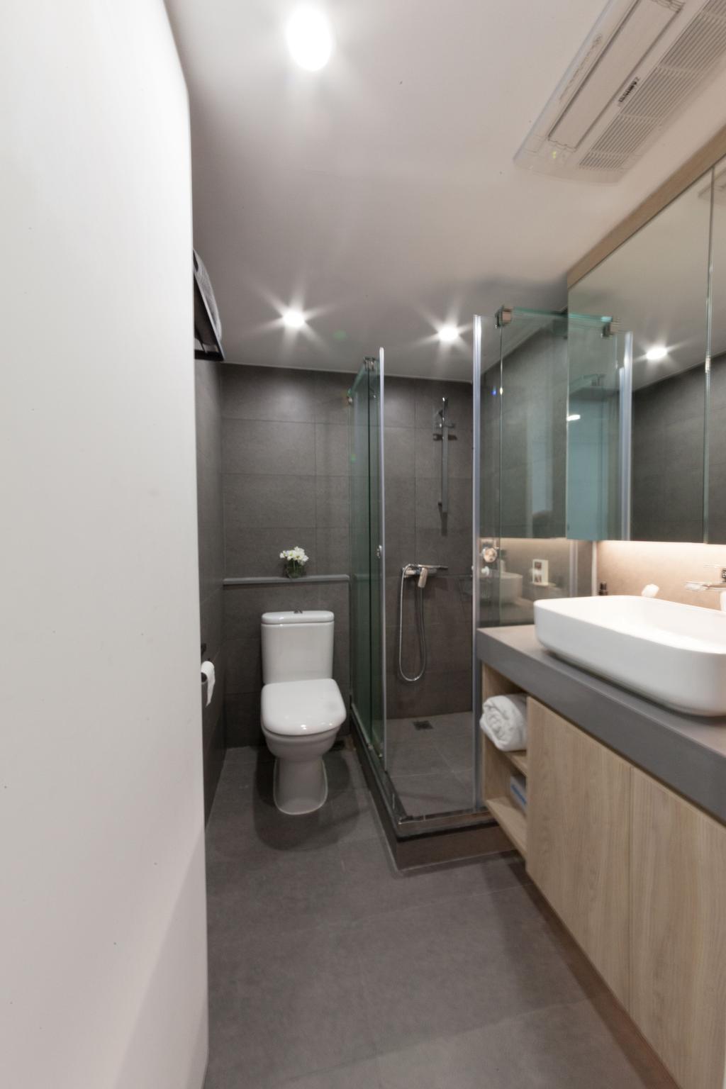 簡約, 私家樓, 帝峰.皇殿, 室內設計師, monoo interior Limited, Toilet, Sink, 浴室, Indoors, Interior Design, Room