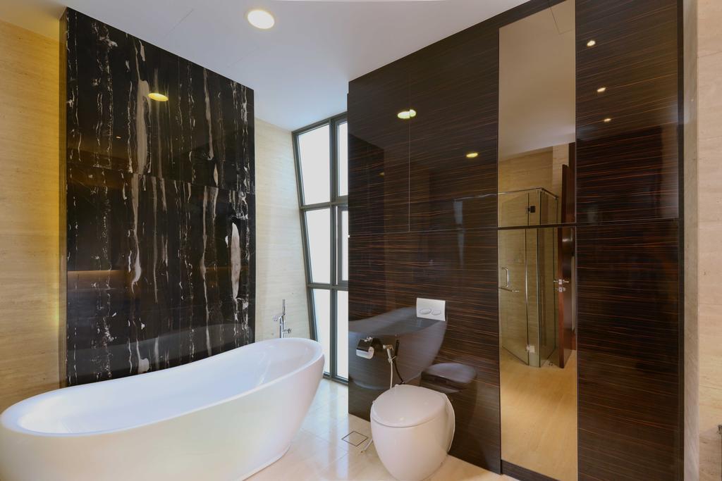 Modern, Landed, Bathroom, Wilkinson Road, Interior Designer, The Orange Cube, Bath Tub, Marble, Mirror, Toilet Bowl, Indoors, Interior Design