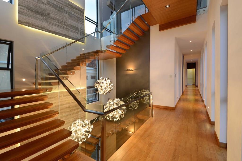 Modern, Landed, Wilkinson Road, Interior Designer, The Orange Cube, Stairs, Stairway, Decoraive Lights, Lights, Banister, Handrail, Staircase