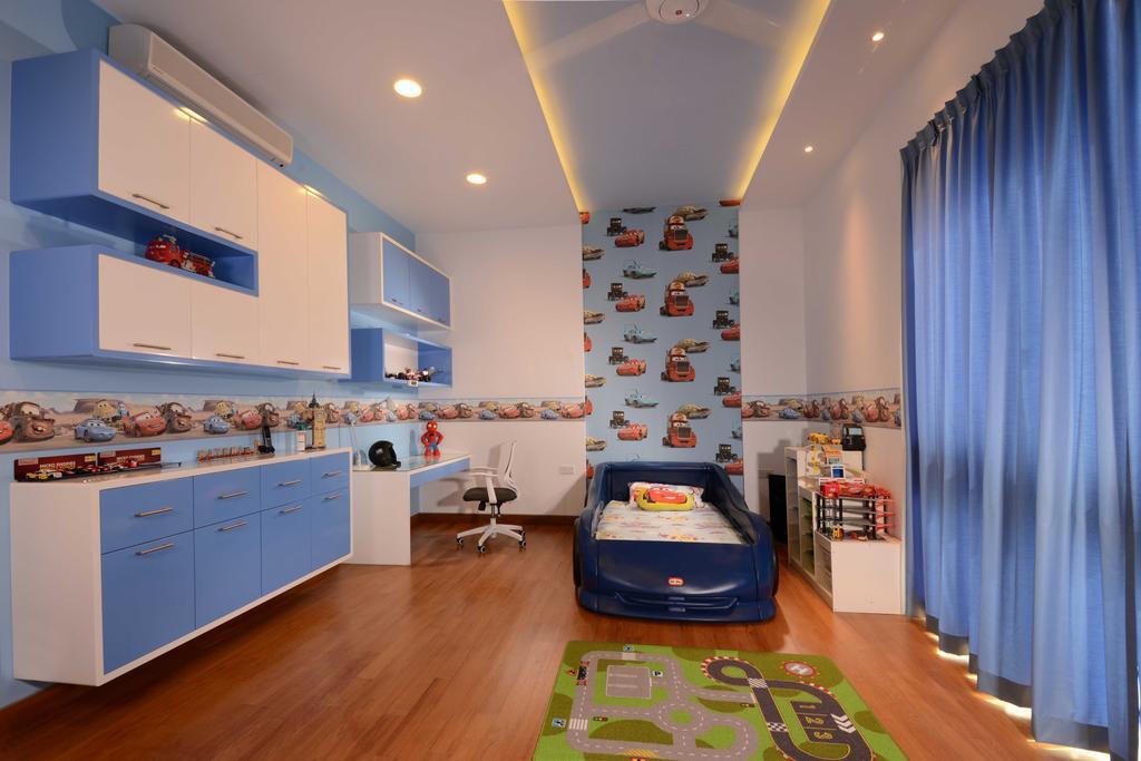 Modern, Landed, Bedroom, Wilkinson Road, Interior Designer, The Orange Cube, Boys Room, Curtian, Cupboard, Shleving, Bed, Study Desk, Work Desk, Desk, Chair, Carpet, Flooring, Luggage, Suitcase, Curtain, Home Decor