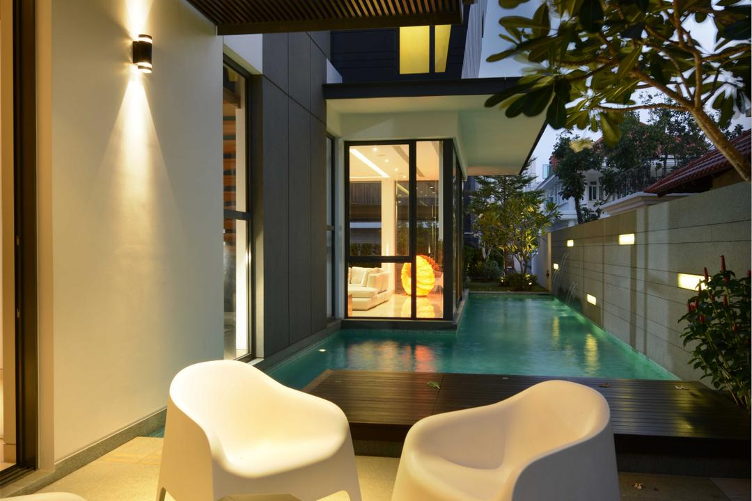 Wilkinson Road, The Orange Cube, Modern, Garden, Landed, Garden Chairs, Pool, Table, Flora, Jar, Plant, Potted Plant, Pottery, Vase, Chair, Furniture, Indoors, Interior Design