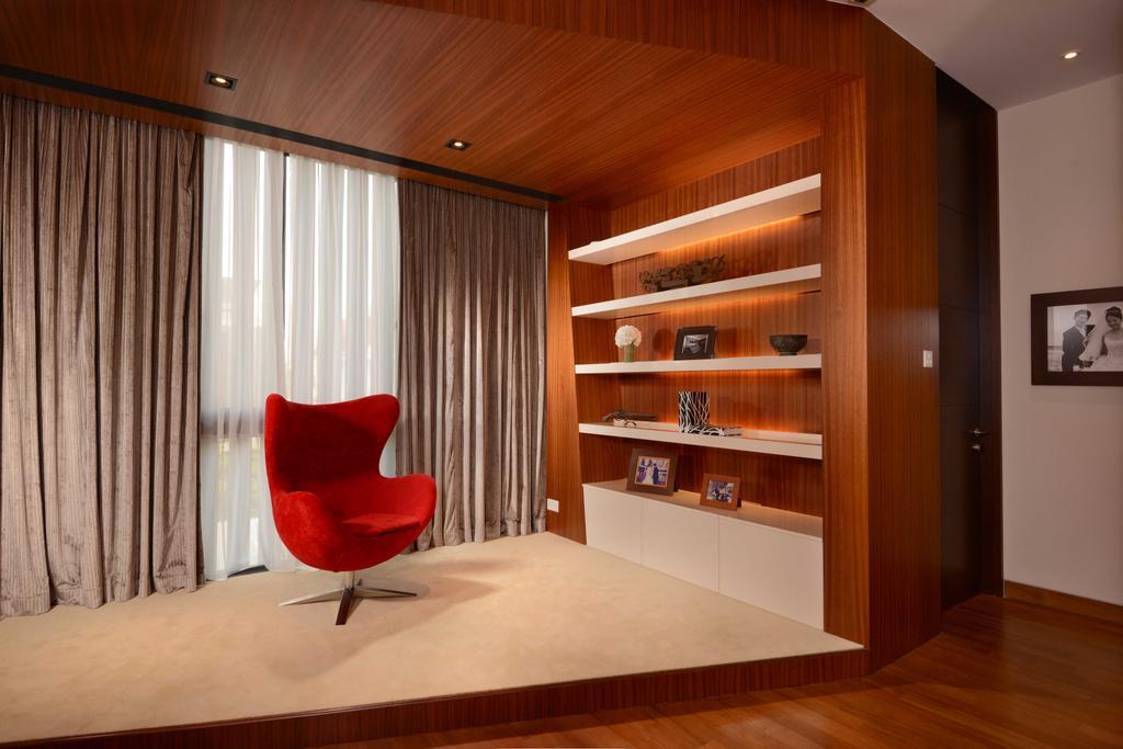 Modern, Landed, Bedroom, Wilkinson Road, Interior Designer, The Orange Cube, Shelving, Curtain, Parquet, Down Light, Chair, Furniture, Indoors, Interior Design