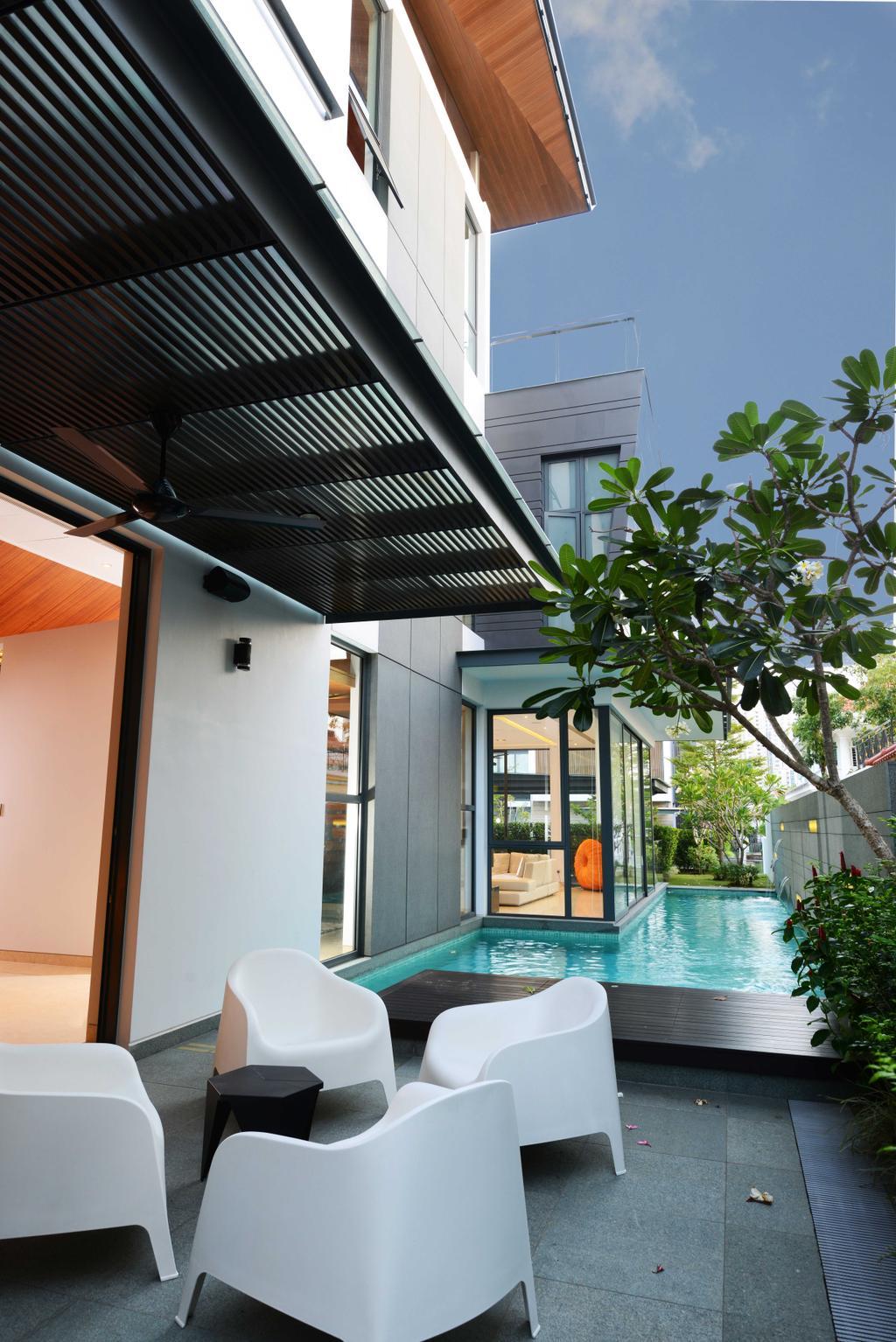 Modern, Landed, Garden, Wilkinson Road, Interior Designer, The Orange Cube, Garden Chairs, Table, Pool, Backyard, Outdoors, Yard, Water, Building, House, Housing, Villa