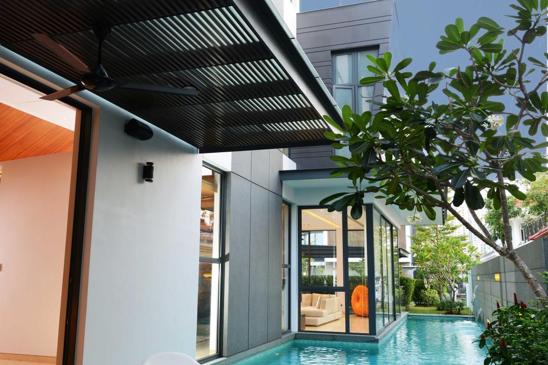Wilkinson Road, The Orange Cube, Modern, Garden, Landed, Garden Chairs, Table, Pool, Backyard, Outdoors, Yard, Water, Building, House, Housing, Villa