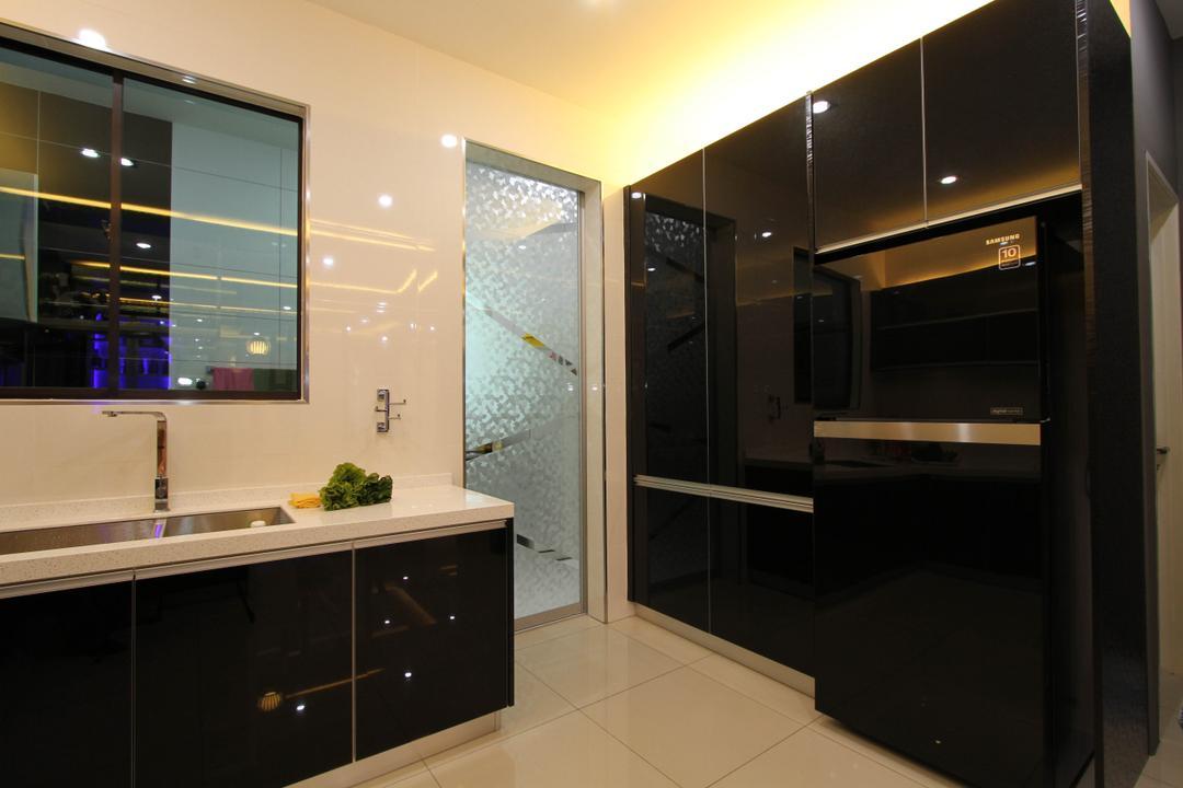 Tambun Permai, Zeng Interior Design Space, Traditional, Kitchen, Landed, Modern, Sleek, Black White, Monochrome, Kitchen Sink, Sink, Refrigerator, Cove Lighting, Concealed Lighting, Furniture, Sideboard