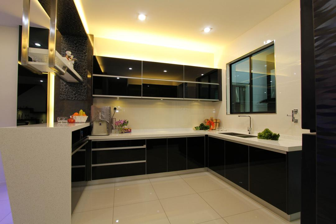Tambun Permai, Zeng Interior Design Space, Traditional, Kitchen, Landed, Kitchen Cabinet, Cabinetry, Monochrome, Black White, Cove Lighting, Concealed Lighting, Kitchen Sink, Sink, Modern, Sleek, Bathroom, Indoors, Interior Design, Room, Door, Sliding Door
