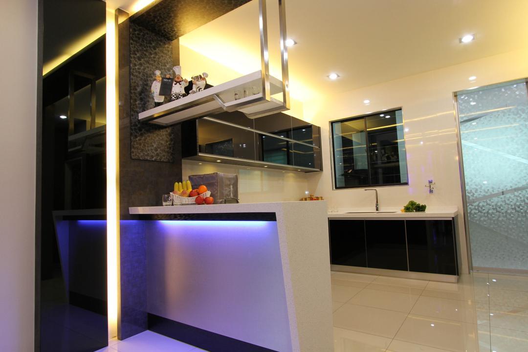Tambun Permai, Zeng Interior Design Space, Traditional, Kitchen, Landed, Kitchen Countertop, Bar Countertop, Hanging Shelves, Concealed Lighting, Downlight, Recessed Lighting