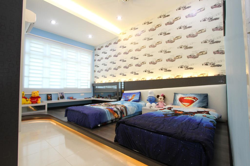 Traditional, Landed, Bedroom, Tambun Permai, Interior Designer, Zeng Interior Design Space, Kids, Kids Room, Boys, Blue, Cartoon, Superhero, Wallpaper, Cove Lighting, Concealed Lighting, Platform, Bed, Furniture
