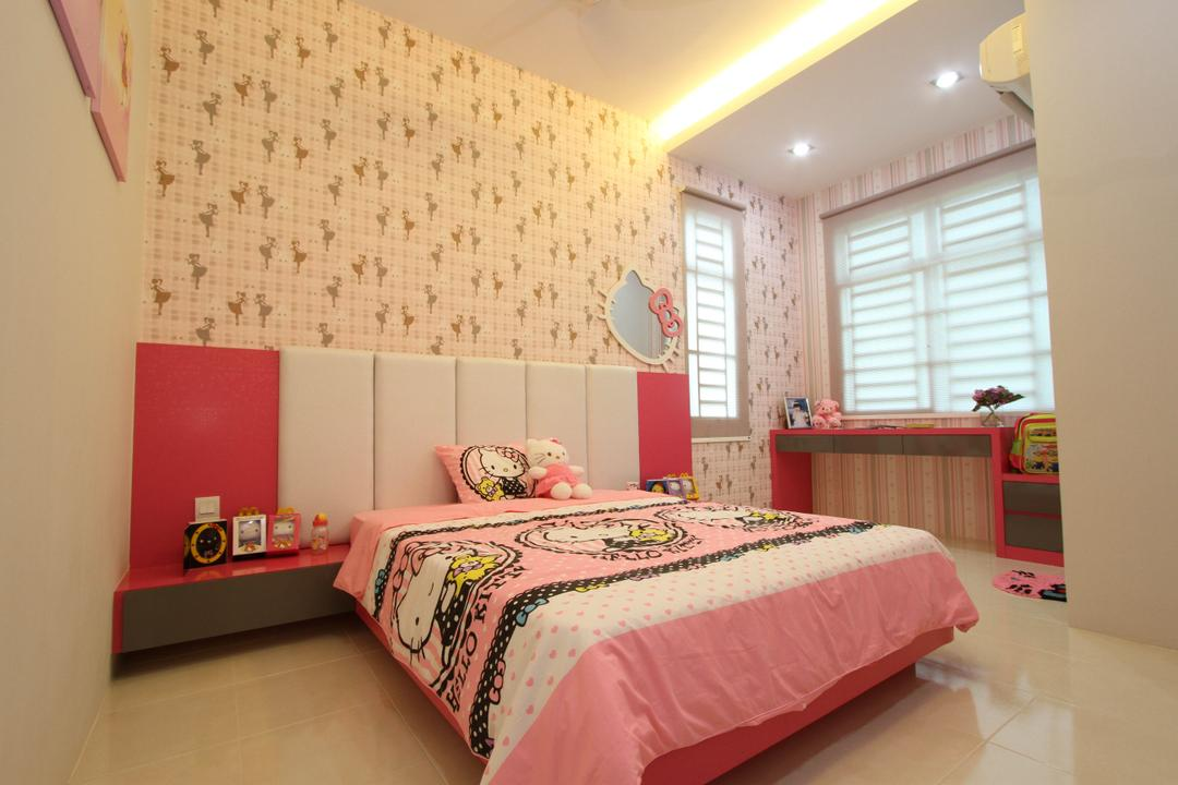 Tambun Permai, Zeng Interior Design Space, Traditional, Bedroom, Landed, Kids Room, Kids, Pink, Girly, Girlish, Wallpaper, Hello Kitty, Cartoon, Headboard, Bedside Table, Concealed Lighting, Curtain, Home Decor, Window, Window Shade, Indoors, Interior Design, Room, Bed, Furniture