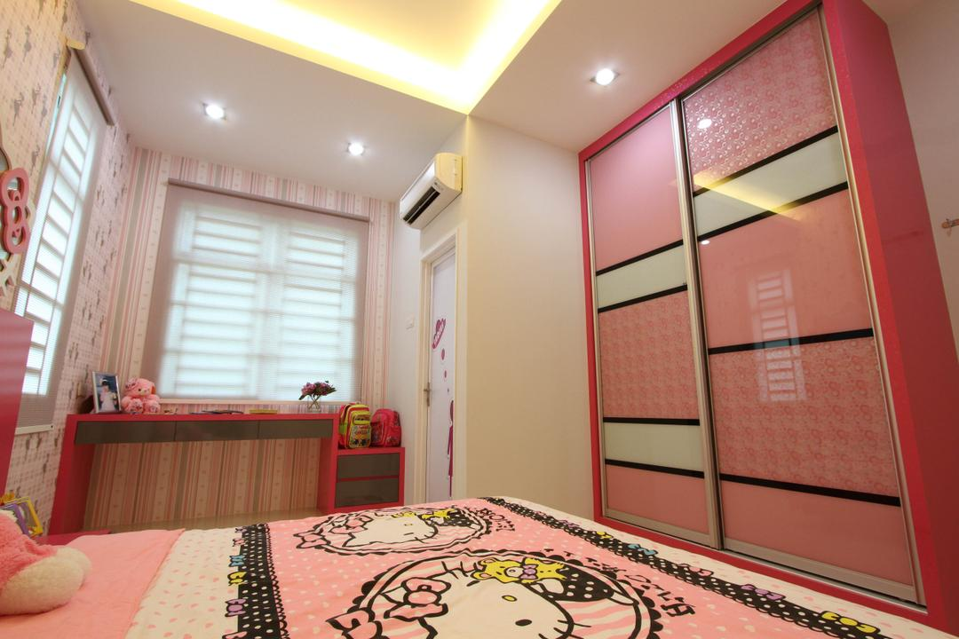 Tambun Permai, Zeng Interior Design Space, Traditional, Bedroom, Landed, Kids, Kids Room, Pink, Girly, Girlish, Wallpaper, Concealed Lighting, Hello Kitty, Indoors, Interior Design, Room