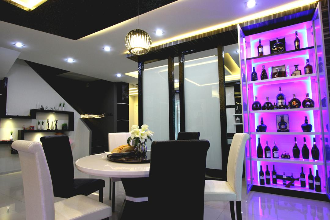Tambun Permai, Zeng Interior Design Space, Traditional, Dining Room, Landed, Dining Table, Dining Room Chairs, Hanging Lamp, Wine Cellar, Wine, Cabinet, Partition, Pendant Lamp, Shelves, Wall Shelves, Chair, Furniture, Indoors, Interior Design, Room, Table, Cafe, Restaurant
