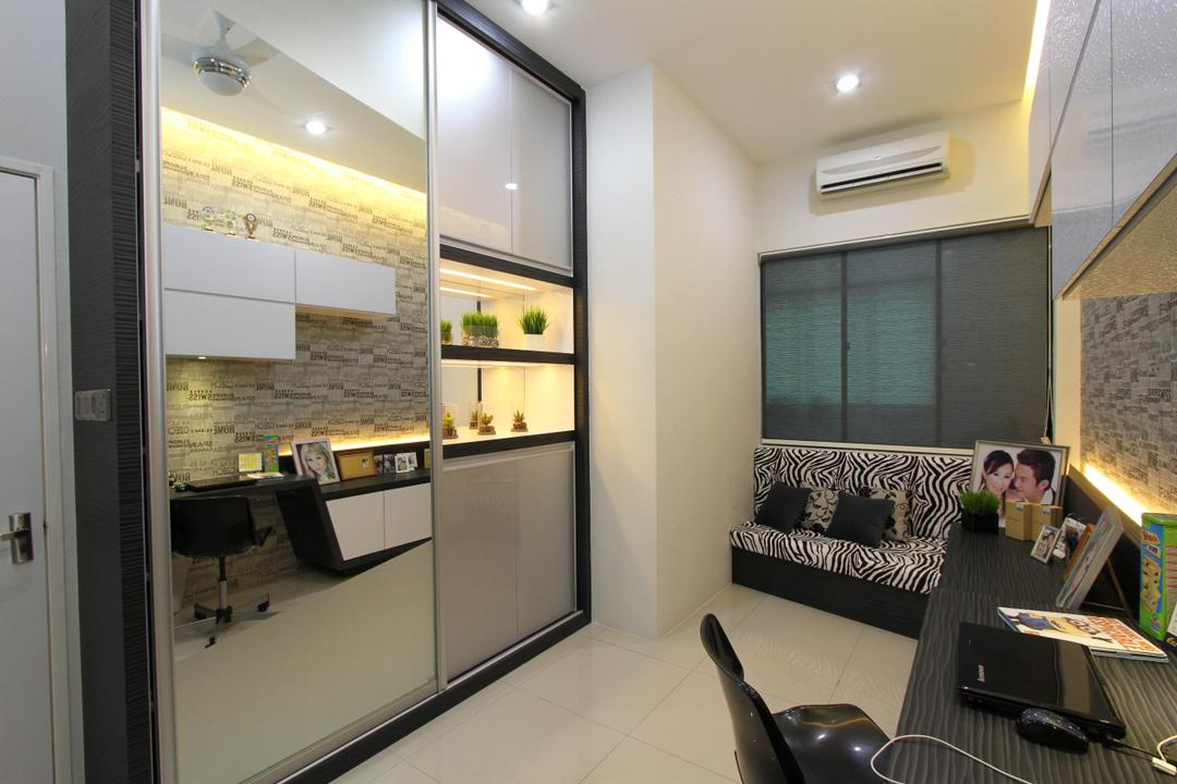 Tambun Permai, Zeng Interior Design Space, Traditional, Study, Landed, Mirror, Cabinets, Cabinetry, Shelves, Blinds, Roller Blinds, Human, People, Person, Furniture, Reception, Appliance, Dishwasher, Electrical Device, Siding, Door, Sliding Door