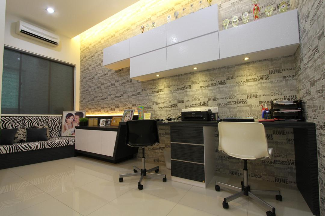 Tambun Permai, Zeng Interior Design Space, Traditional, Study, Landed, Wallpaper, Study Table, Computer Desk, Office Chairs, Cabinets, Shelves