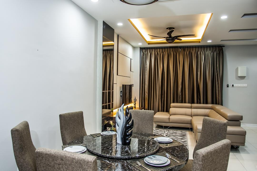 Pearl Villa, Zeng Interior Design Space, Traditional, Dining Room, Landed, Ceiling Fan, Dining Table, Dining Table Chairs, Chairs, Granite Table Top, Downlight, Gold, False Ceiling, Electronics, Entertainment Center, Home Theater, Indoors, Interior Design, Room