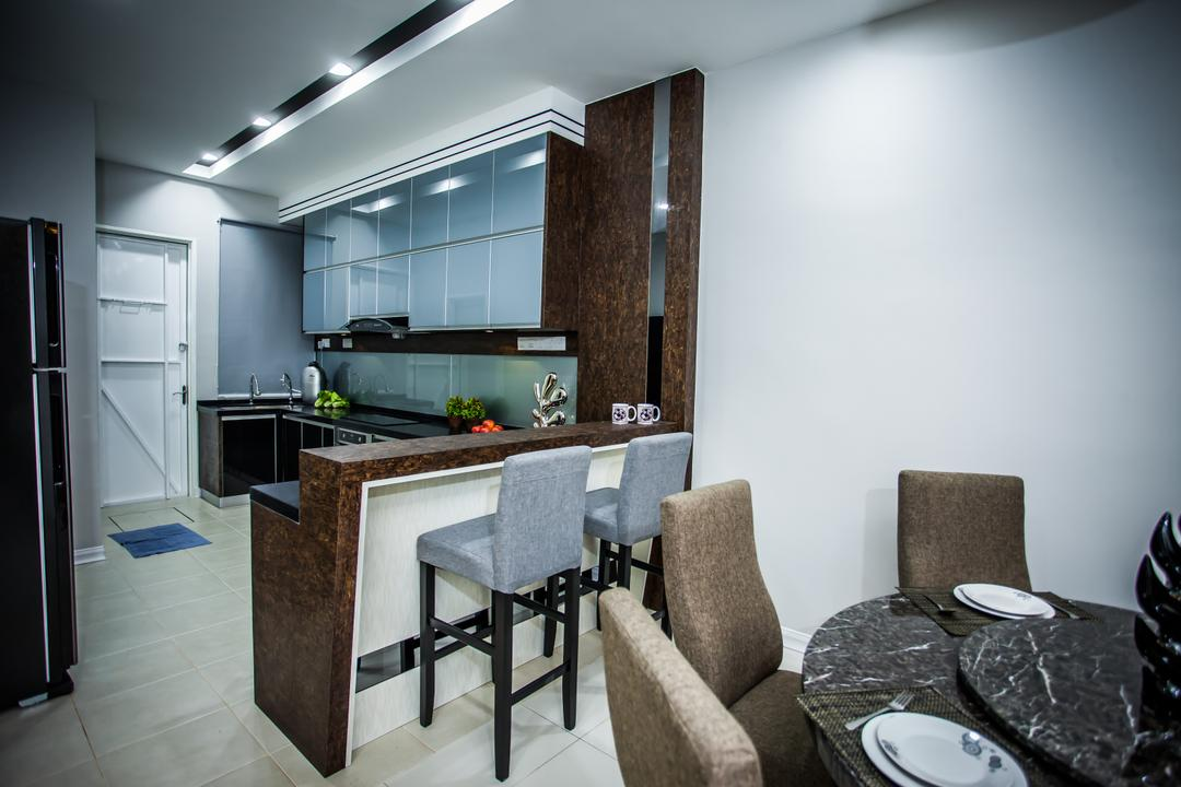 Pearl Villa, Zeng Interior Design Space, Traditional, Dining Room, Landed, Bar Stool, High Stool, Kitchen Countertop, Dining Table, Dining Room Chairs, Recessed Lighting, Downlight, Kitchen Cabinet, Cabinetry, Chair, Furniture, Table, Apartment, Building, Housing, Indoors, Toilet