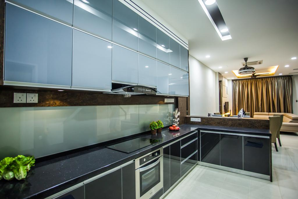 Traditional, Landed, Kitchen, Pearl Villa, Interior Designer, Zeng Interior Design Space, Kitchen Cabinet, Cabinetry, Backplash, Oven, Built In Oven, Exhaust Hood, Indoors, Interior Design, Room