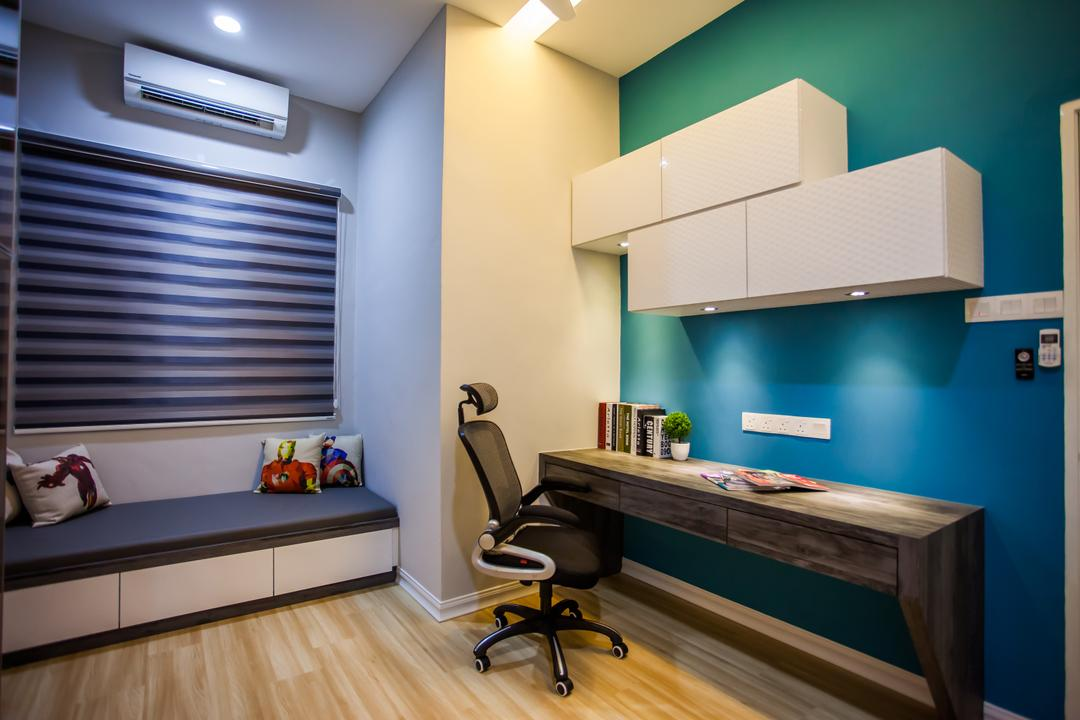 Pearl Villa, Zeng Interior Design Space, Traditional, Study, Landed, Computer Desk, Study Table, Office Chair, Bay Window, Blinds, Shelves, Cabinets, Blue, Colourful, Indoors, Interior Design