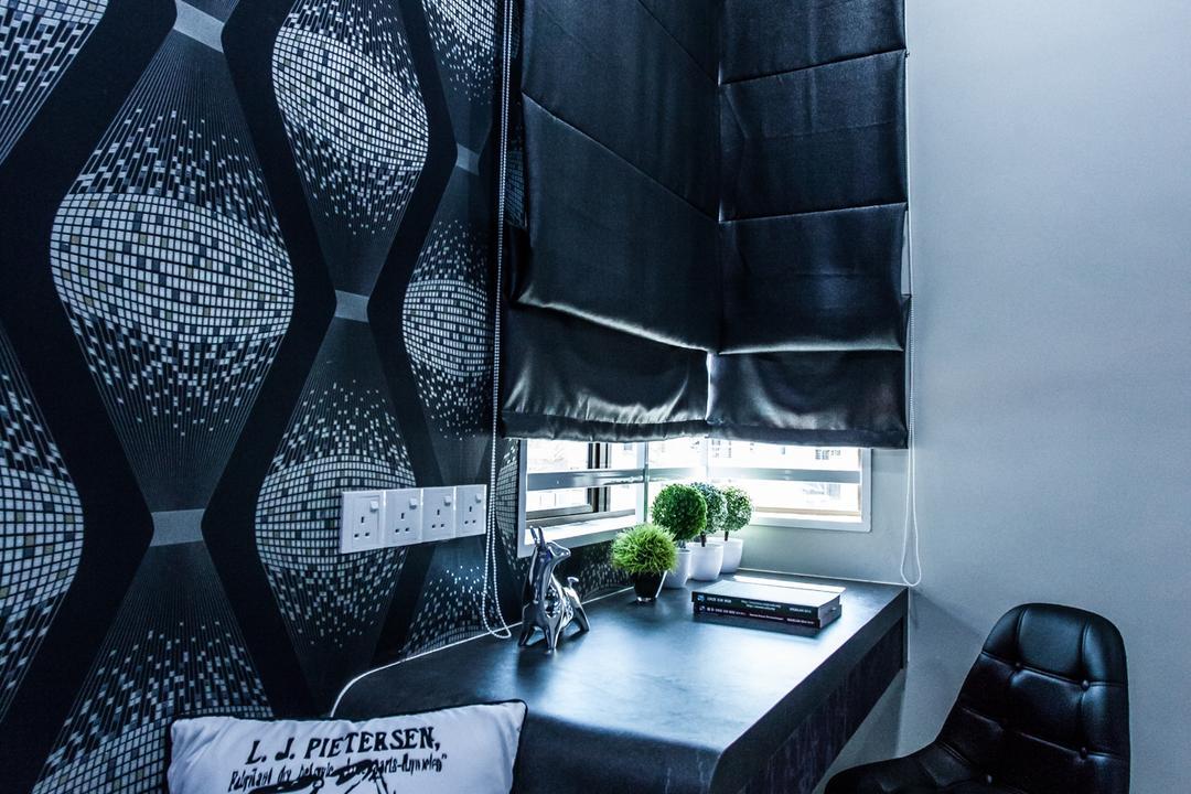 Plenitude Lot 88, Zeng Interior Design Space, Modern, Bedroom, Landed, Blinds, Wallpaper, Pillow, Eames Chair, Black, Dark, Study Table, Study Desk, Light, Traffic Light, Balcony, Chair, Furniture