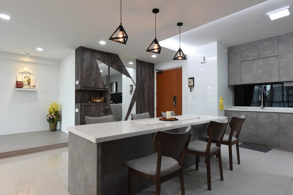 Scandinavian, HDB, Dining Room, Ang Mo Kio Street 44, Interior Designer, Starry Homestead, Indoors, Interior Design, Room, Dining Table, Furniture, Table, Chair, Kitchen