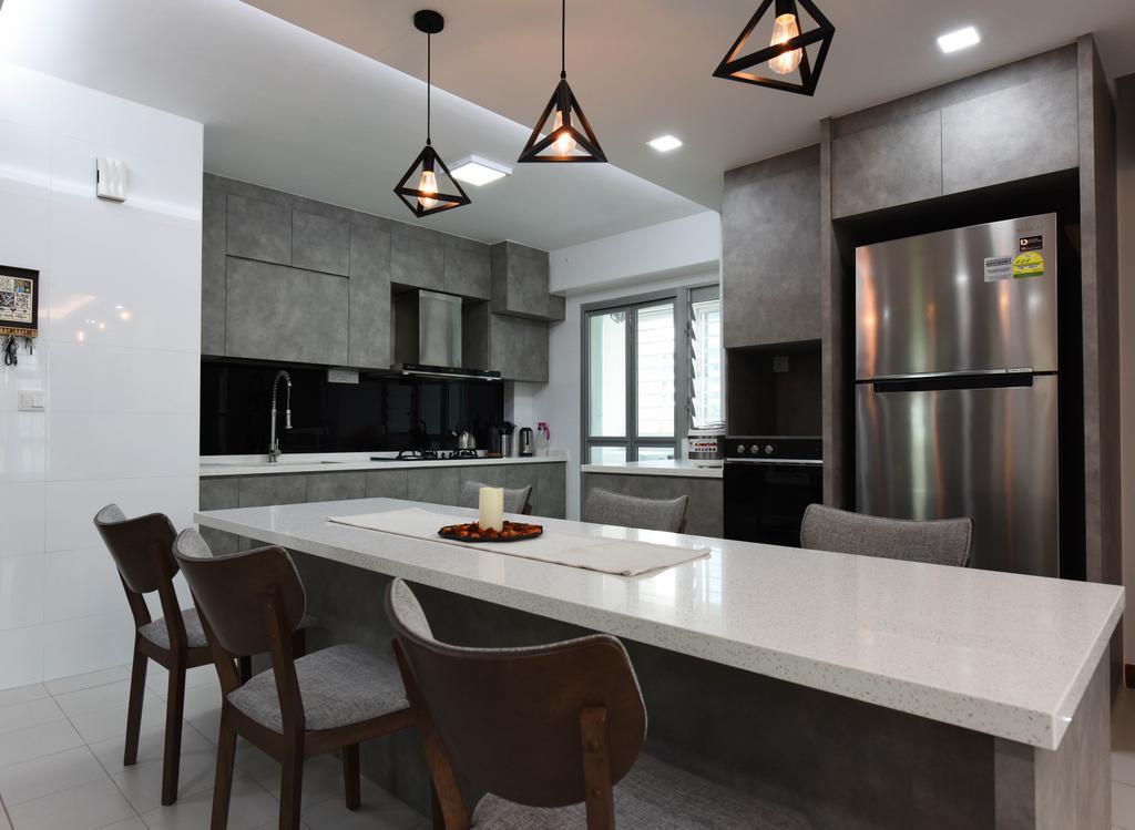 Scandinavian, HDB, Kitchen, Ang Mo Kio Street 44, Interior Designer, Starry Homestead, Chair, Furniture, Dining Room, Indoors, Interior Design, Room, Dining Table, Table