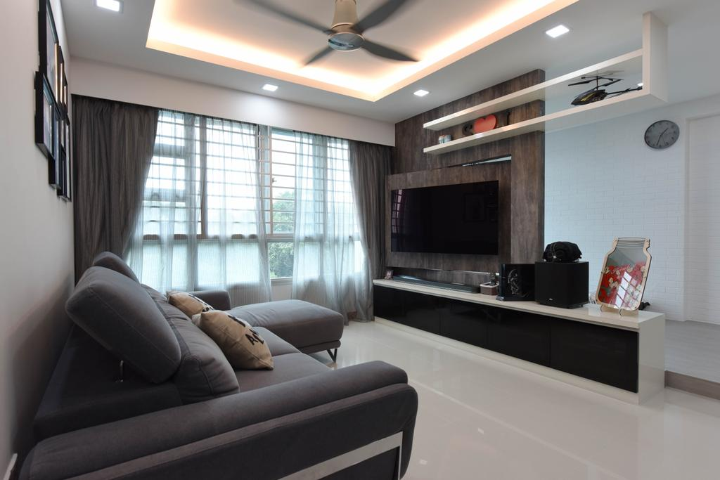 Scandinavian, HDB, Living Room, Ang Mo Kio Street 44, Interior Designer, Starry Homestead, Couch, Furniture, Fireplace, Hearth, Indoors, Interior Design, Electronics, Entertainment Center