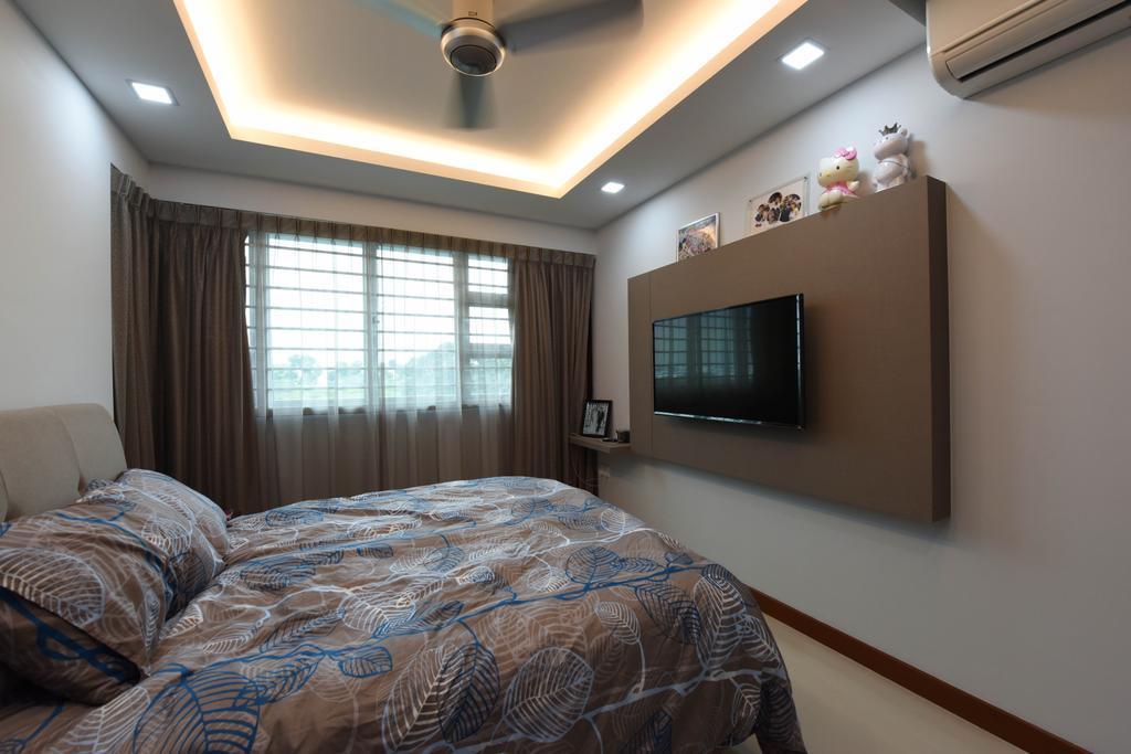 Scandinavian, HDB, Bedroom, Ang Mo Kio Street 44, Interior Designer, Starry Homestead, Bed, Furniture, Indoors, Interior Design, Room, Electronics, Monitor, Screen, Tv, Television