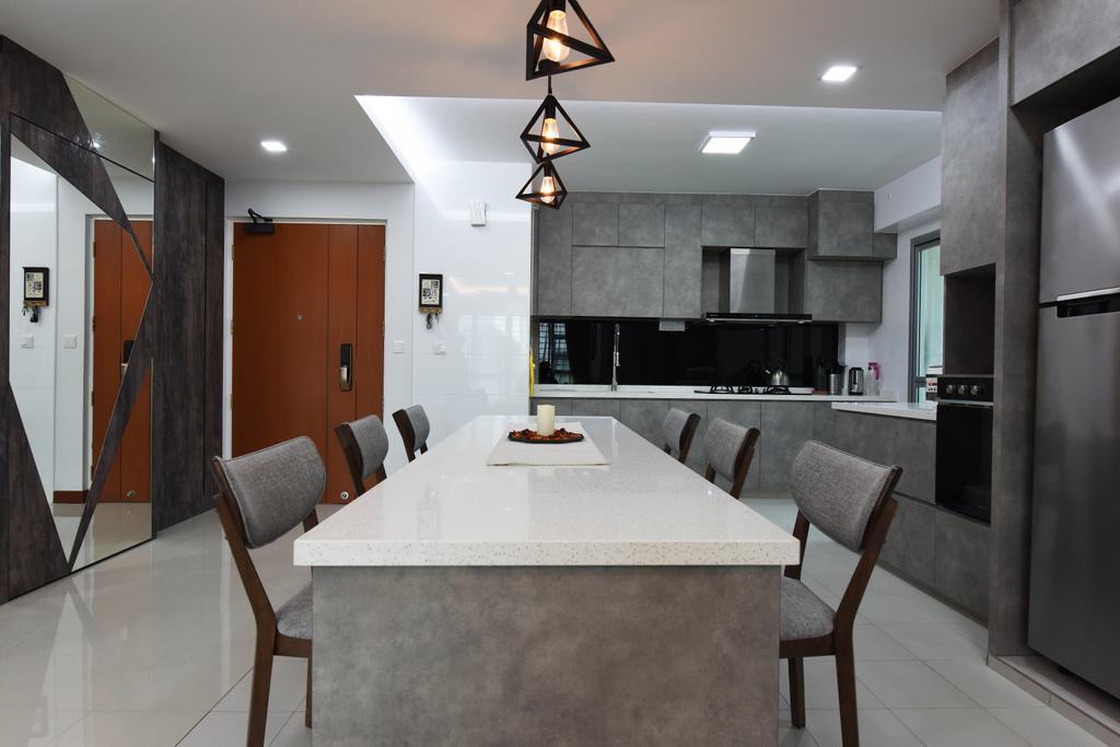 Scandinavian, HDB, Dining Room, Ang Mo Kio Street 44, Interior Designer, Starry Homestead, Chair, Furniture, Indoors, Interior Design, Room, Dining Table, Table