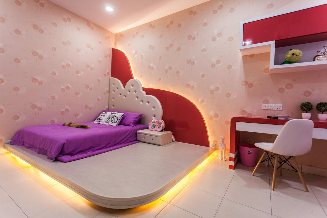 Plenitude Lot 88, Zeng Interior Design Space, Modern, Bedroom, Landed, Kids, Kids Room, Wallpaper, Girls, Girly, Girlish, Eames Chair, Cove Lighting, Concealed Lighting, Colourful, Red, Shelves, Chair, Furniture, Bed, Indoors, Interior Design