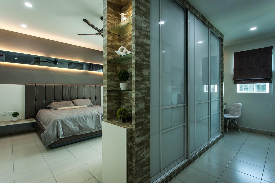 Plenitude Lot 88, Zeng Interior Design Space, Modern, Bedroom, Landed, Wardrobe, Walk In Wardrobe, Headboard, Cove Lighting, Concealed Lighting, Brown