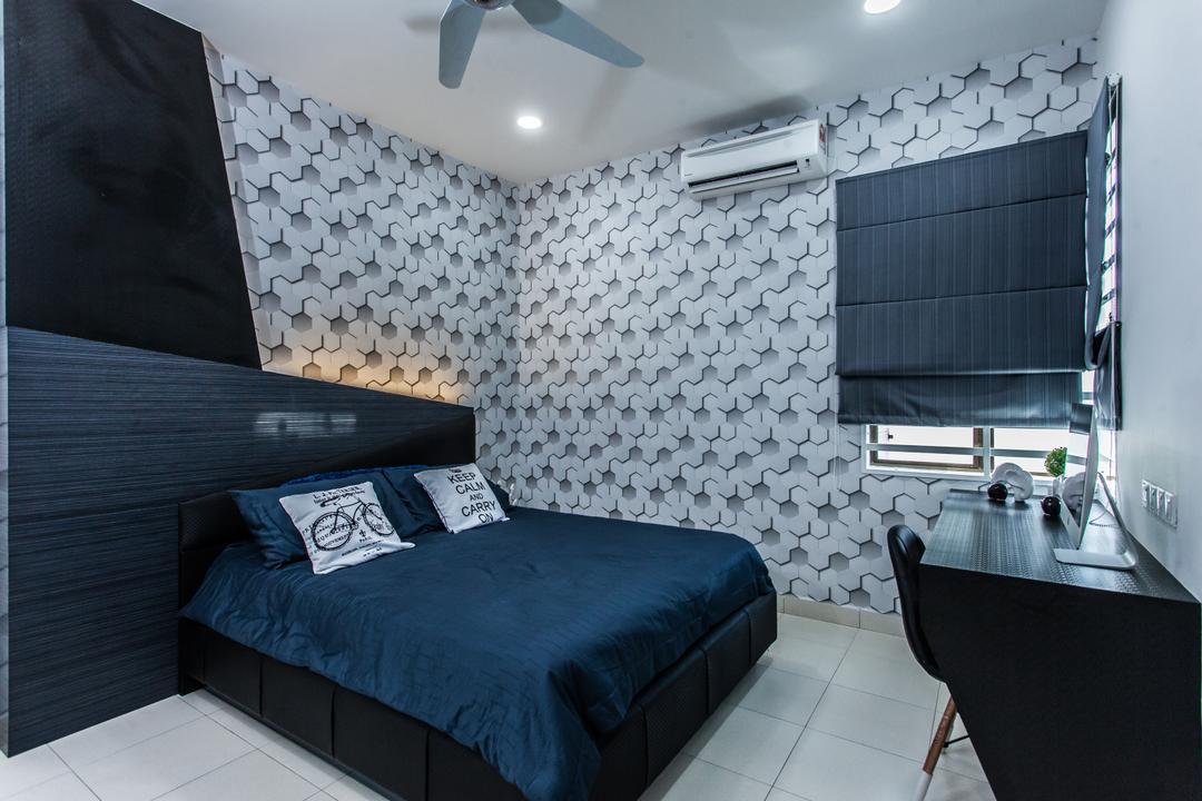 Plenitude Lot 88, Zeng Interior Design Space, Modern, Bedroom, Landed, Wallpaper, Dark, Blue, Black, Bed, Headboard, Blinds, Study Table, Bathroom, Indoors, Interior Design, Room, Furniture