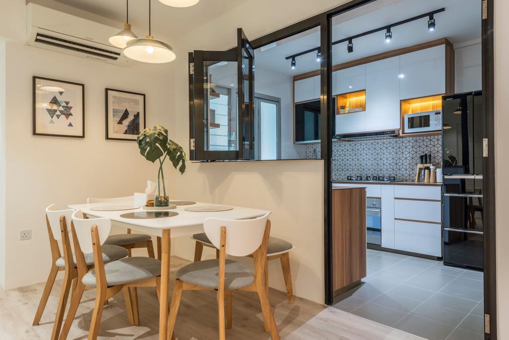 Scandinavian, HDB, Dining Room, Boon Lay Avenue, Interior Designer, MET Interior, Dining Table, Furniture, Table, Indoors, Interior Design, Room