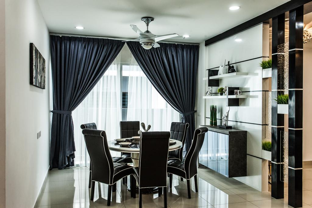 Modern, Landed, Dining Room, Plenitude Lot 88, Interior Designer, Zeng Interior Design Space, Ceiling Fan, Partition, Black White, Monochrome, Curtains, Downlight, Dining Table, Dining Room Chairs, Shelving, Shelves, Chair, Furniture, Table, Shelf, Indoors, Room, Interior Design