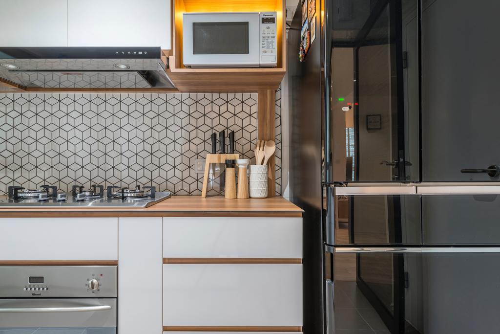 Scandinavian, HDB, Kitchen, Boon Lay Avenue, Interior Designer, MET Interior, Appliance, Electrical Device, Microwave, Oven