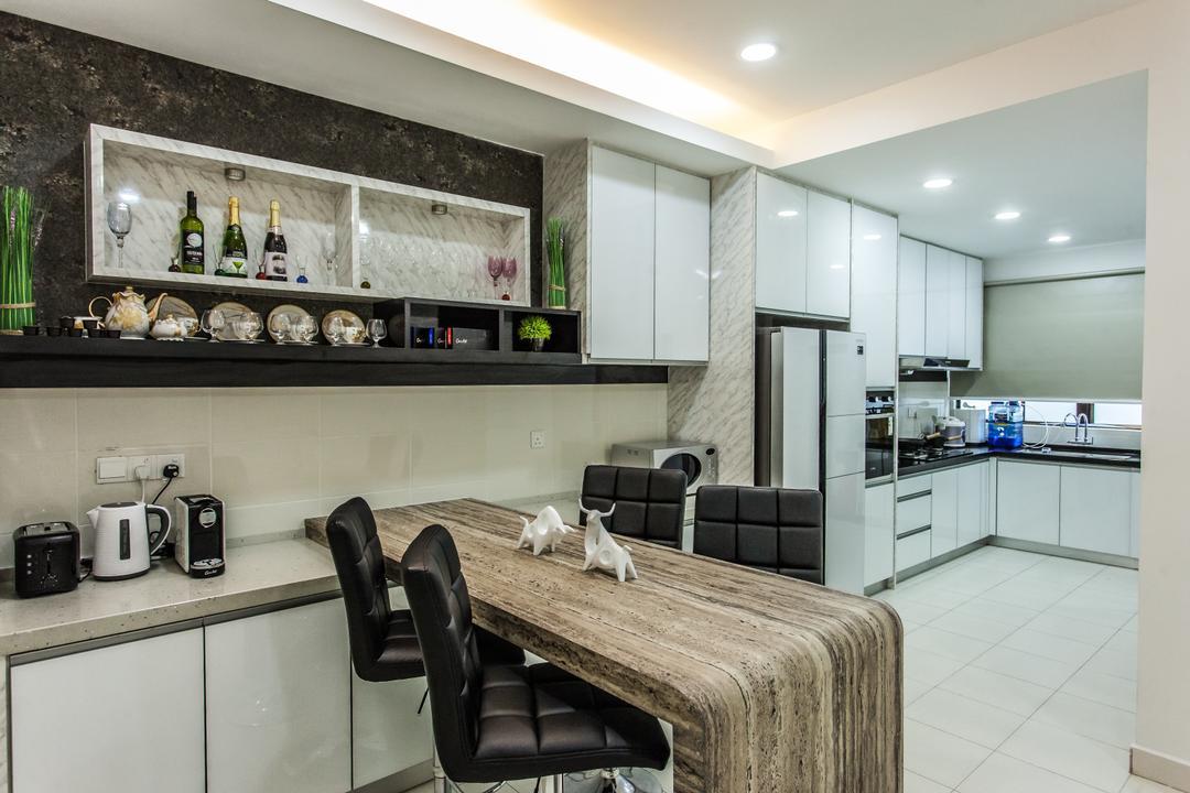 Plenitude Lot 88, Zeng Interior Design Space, Modern, Kitchen, Landed, Kitchen Countertop, Countertop, Bar Stools, Kitchen Cabinet, Cabinetry, Refrigerator, Chair, Furniture, Indoors, Interior Design, Room, White Board