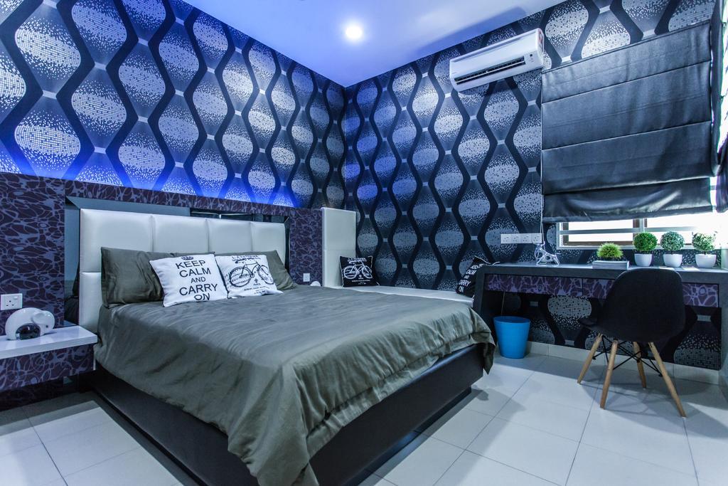 Modern, Landed, Bedroom, Plenitude Lot 88, Interior Designer, Zeng Interior Design Space, Wallpaper, Black, Blue, Headboard, Dark, Blinds, Eames Chair, Bedside Table, Chair, Furniture, Bed