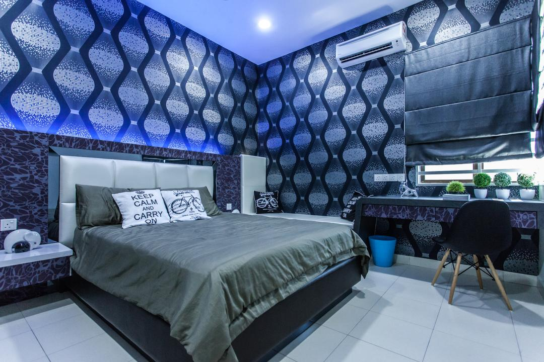 Plenitude Lot 88, Zeng Interior Design Space, Modern, Bedroom, Landed, Wallpaper, Black, Blue, Headboard, Dark, Blinds, Eames Chair, Bedside Table, Chair, Furniture, Bed