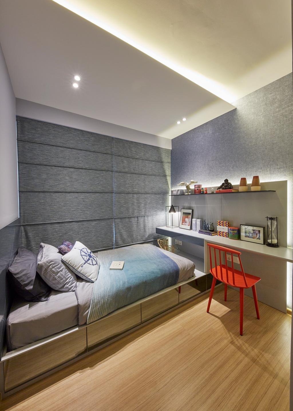 Scandinavian, Condo, Bedroom, Parc Life, Interior Designer, Elements ID, Chair, Furniture, Indoors, Interior Design, Room
