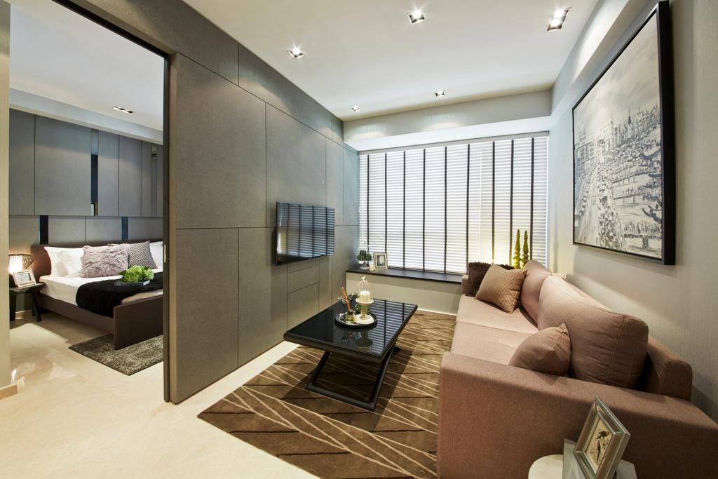 Modern, Condo, Living Room, Flamingo Valley, Interior Designer, Elements ID, Couch, Furniture, Indoors, Interior Design, HDB, Building, Housing, Loft