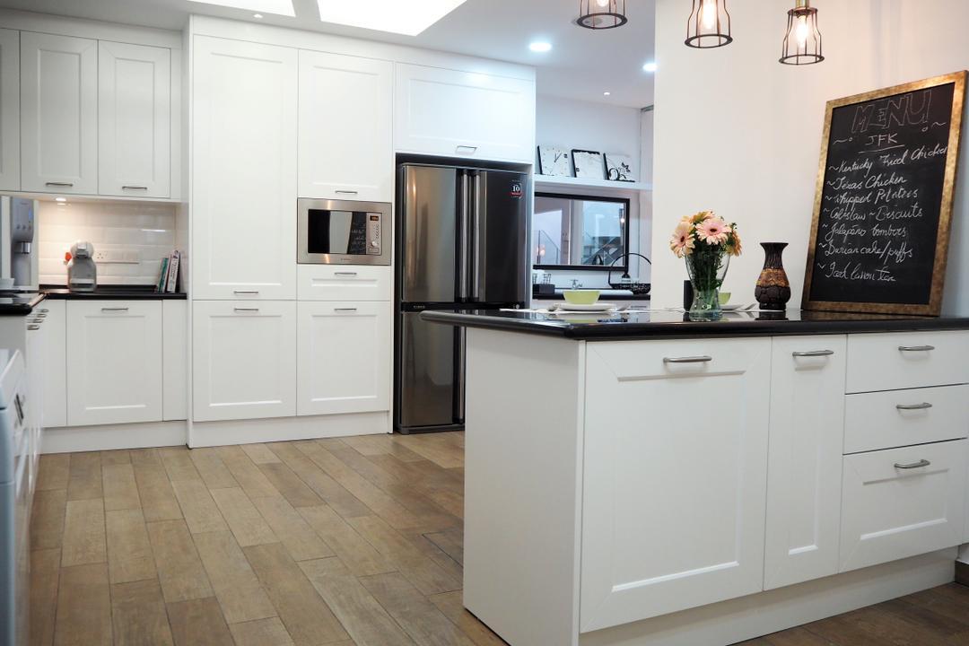 Ampang, Meridian Interior Design, Contemporary, Kitchen, Condo, Blackboard, Indoors, Interior Design, Room, Flooring, Appliance, Electrical Device, Oven, Furniture, Sideboard