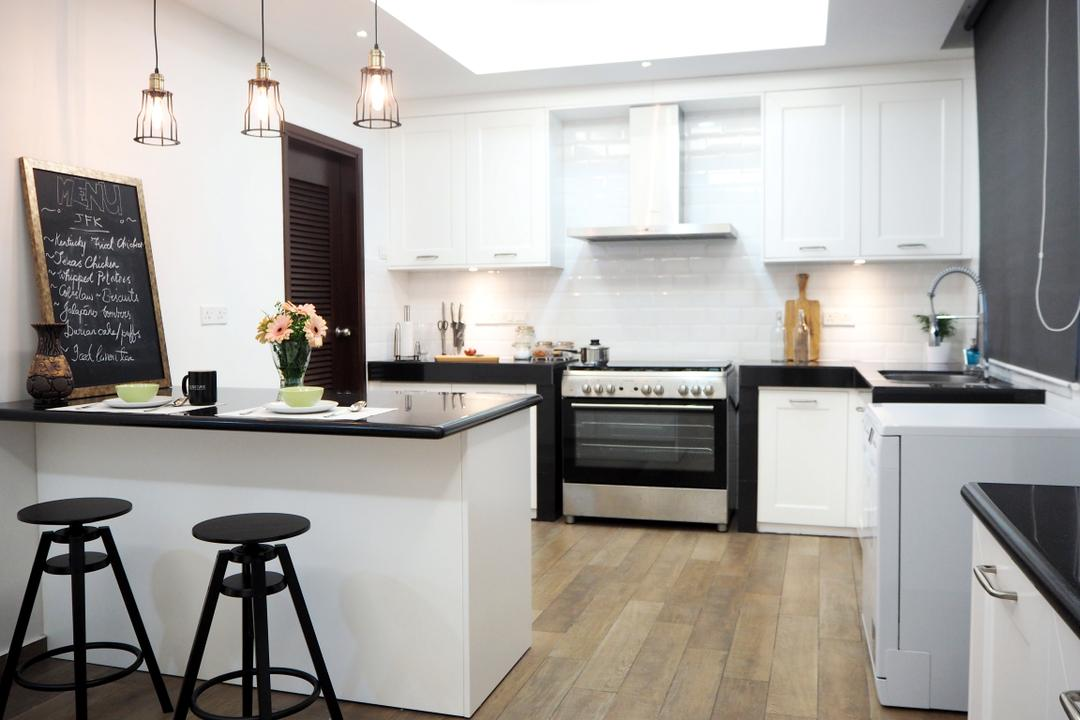 Ampang, Meridian Interior Design, Contemporary, Kitchen, Condo, Bar Stool, Furniture, Indoors, Interior Design, Room, Appliance, Electrical Device, Oven, Flora, Jar, Plant, Potted Plant, Pottery, Vase, Blackboard