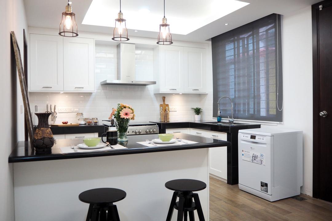 Ampang, Meridian Interior Design, Contemporary, Kitchen, Condo, Bar Stool, Furniture, Indoors, Interior Design, Room, Cushion, Headrest, Home Decor, Dining Room