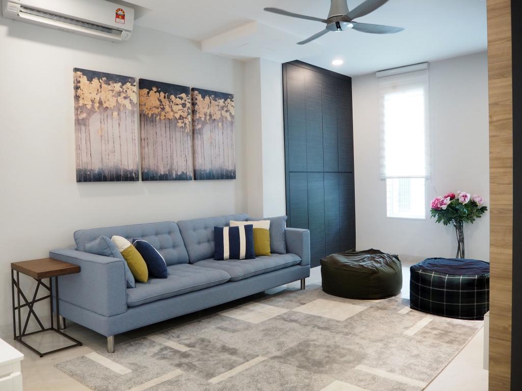 Landed, Living Room, Ara Damansara, Interior Designer, Meridian Interior Design, Couch, Furniture, Luggage, Suitcase, Blossom, Flora, Flower, Flower Arrangement, Ornament, Plant, Indoors, Room