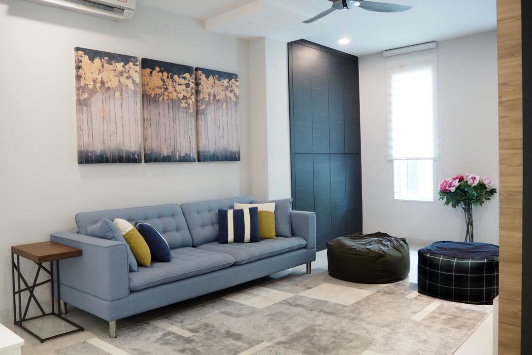 Ara Damansara, Meridian Interior Design, Living Room, Landed, Couch, Furniture, Luggage, Suitcase, Blossom, Flora, Flower, Flower Arrangement, Ornament, Plant, Indoors, Room