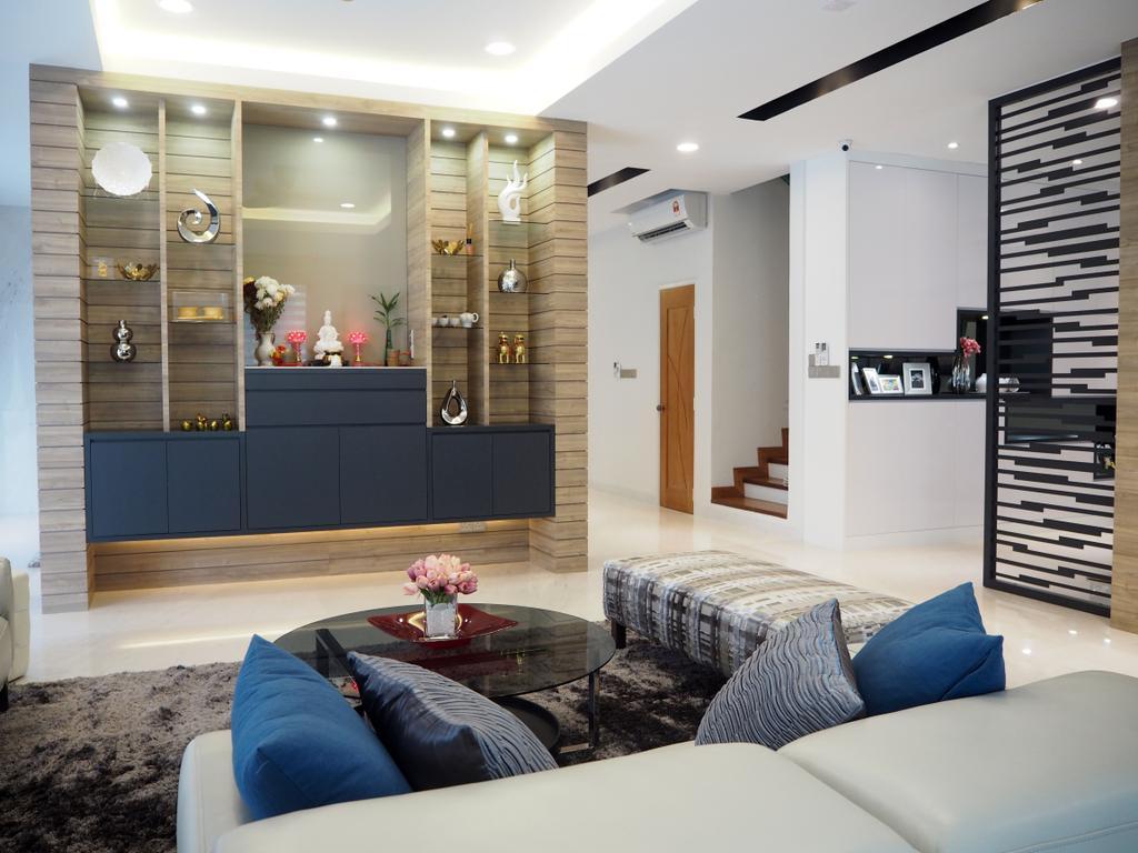 Landed, Living Room, Ara Damansara, Interior Designer, Meridian Interior Design, Couch, Furniture