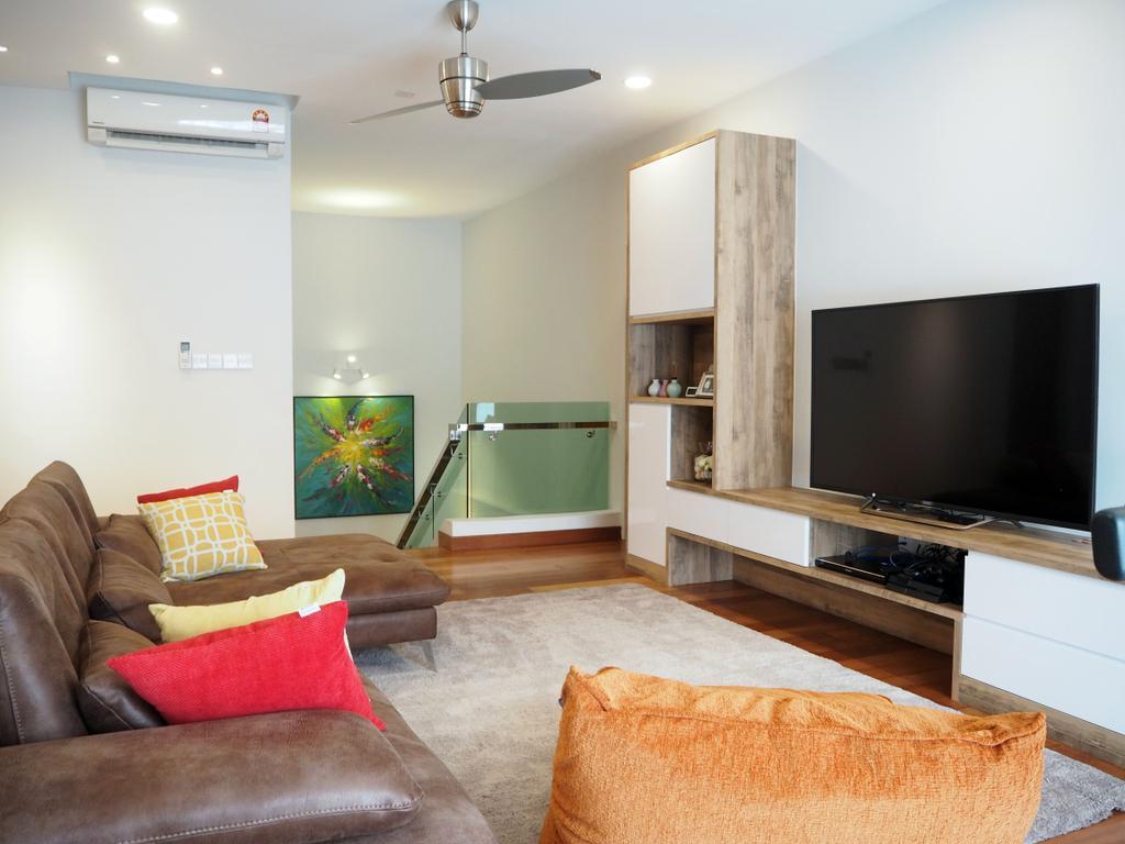 Landed, Ara Damansara, Interior Designer, Meridian Interior Design, Couch, Furniture, Air Conditioner, Apartment, Building, Housing, Indoors, Electronics, Lcd Screen, Monitor, Screen