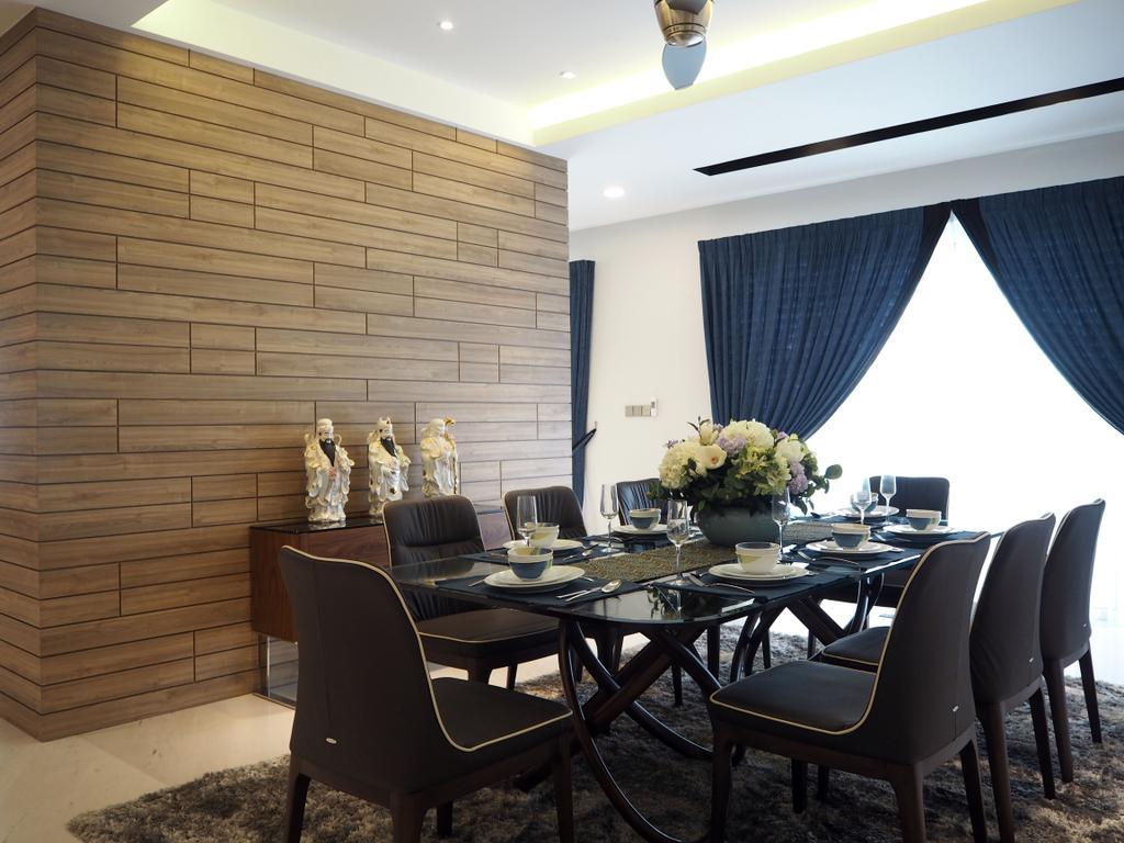 Landed, Dining Room, Ara Damansara, Interior Designer, Meridian Interior Design, Chair, Furniture, Flora, Jar, Plant, Potted Plant, Pottery, Vase, Indoors, Interior Design, Room, Dining Table, Table, Couch