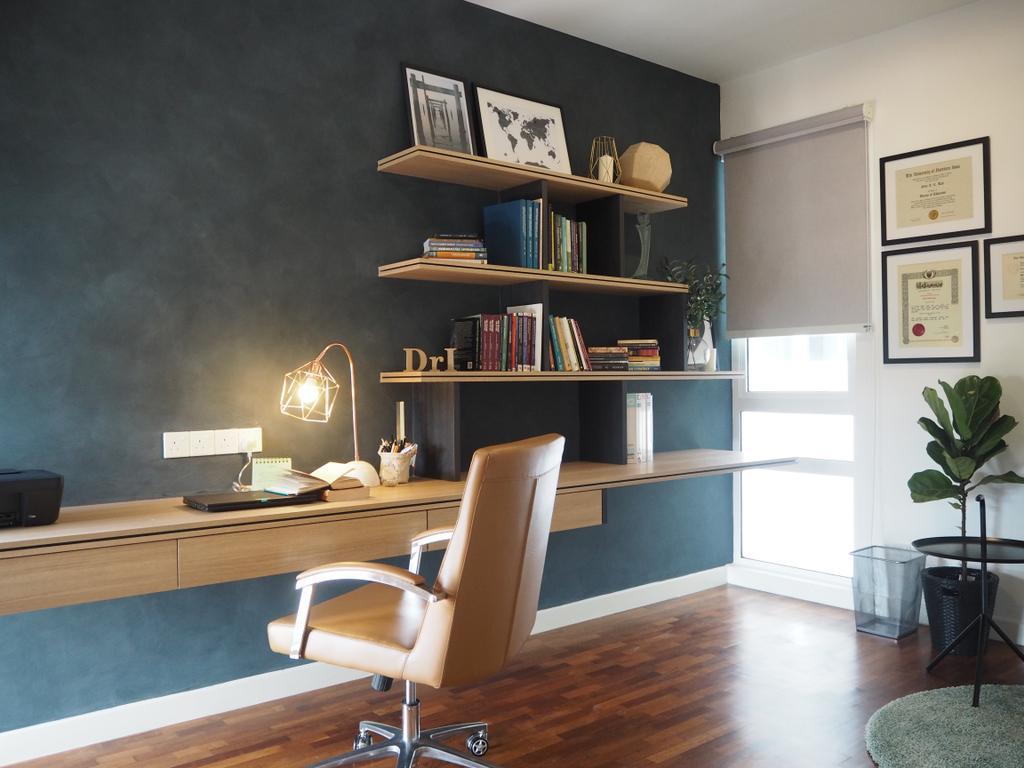 Contemporary, Landed, Study, Cheras, Interior Designer, Meridian Interior Design, Minimalist, Chair, Furniture, Bookcase, Flora, Jar, Plant, Potted Plant, Pottery, Vase, Indoors, Interior Design