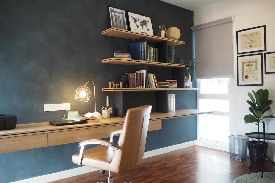 Cheras, Meridian Interior Design, Contemporary, Minimalistic, Study, Landed, Chair, Furniture, Bookcase, Flora, Jar, Plant, Potted Plant, Pottery, Vase, Indoors, Interior Design