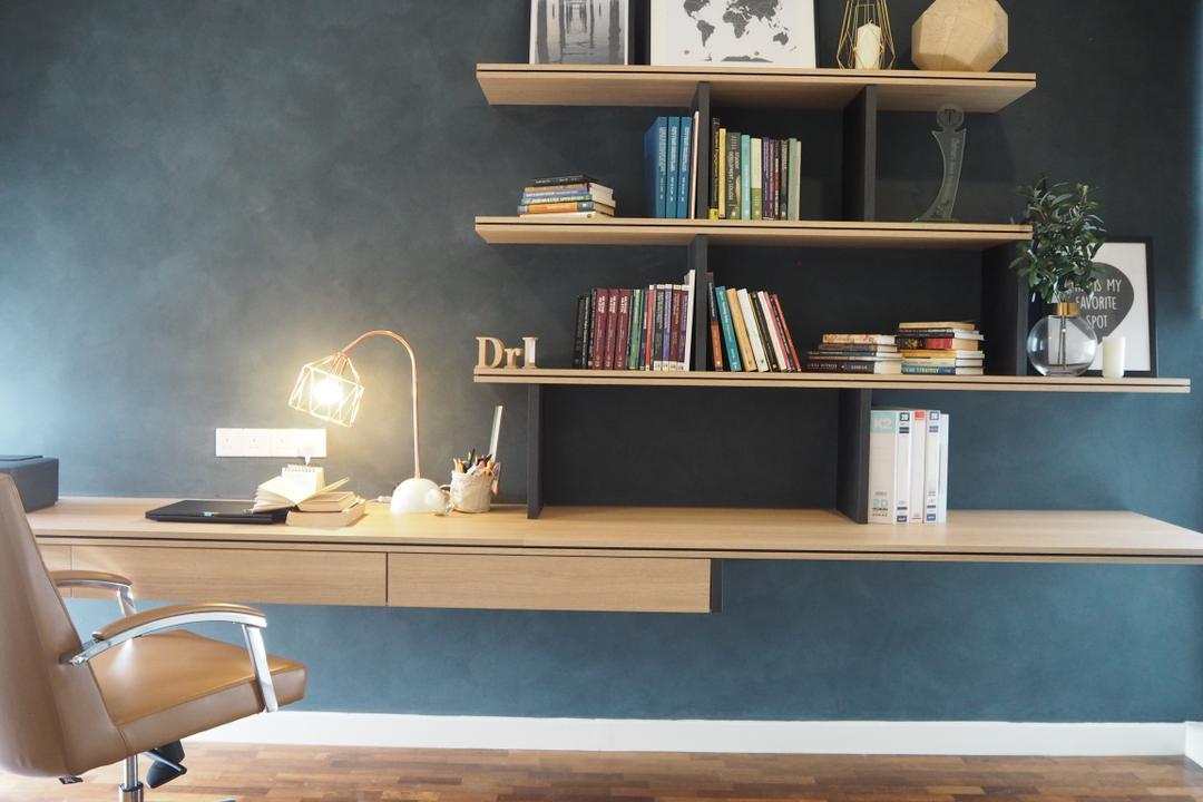 Cheras, Meridian Interior Design, Contemporary, Minimalistic, Study, Landed, Chair, Furniture, Bookcase, Banister, Handrail